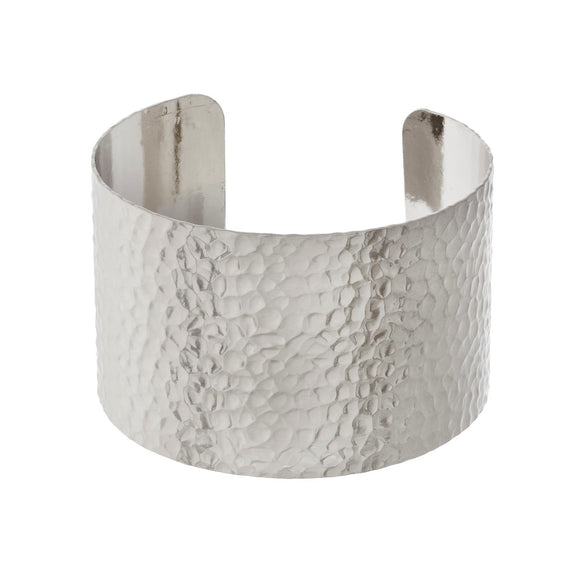 Hammered Metal Cuff Bracelet in Silver