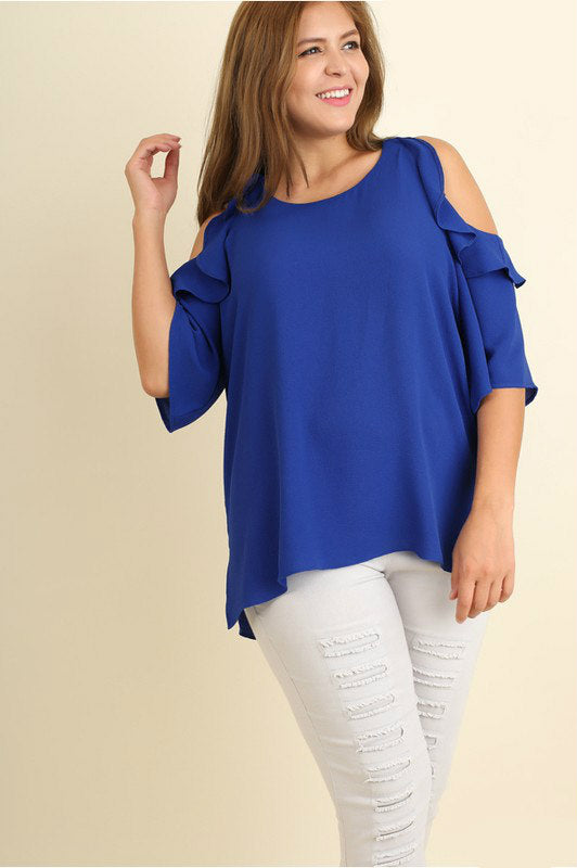 On Cloud Nine Cold Shoulder Top