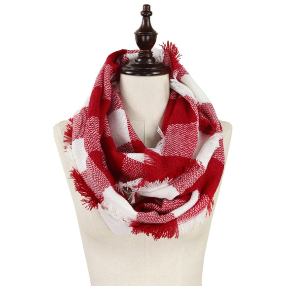 Buffalo Plaid Red & White Infinity Scarf