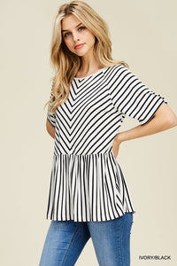 Angie Striped Peplum Top