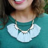 Gray & Gold Statement Tassel Necklace