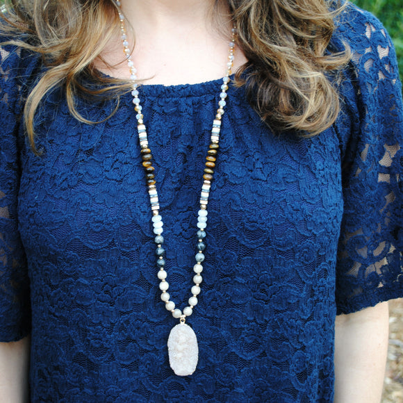 Beaded Druzy Stone Necklace