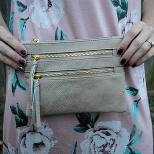 Double Zipper Cross Body Bag in Beige