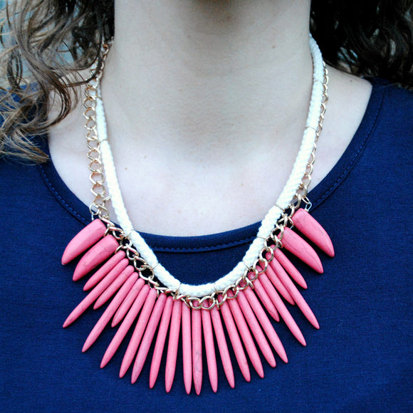 Wooden Statement Necklace in Coral Gold & Ivory