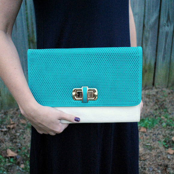Two Tone Clutch Purse in Teal & Ivory