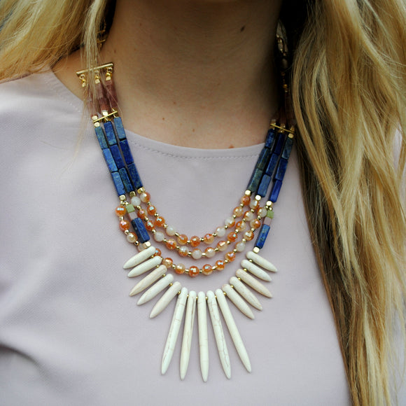 Stone Statement Necklace in Navy & Ivory