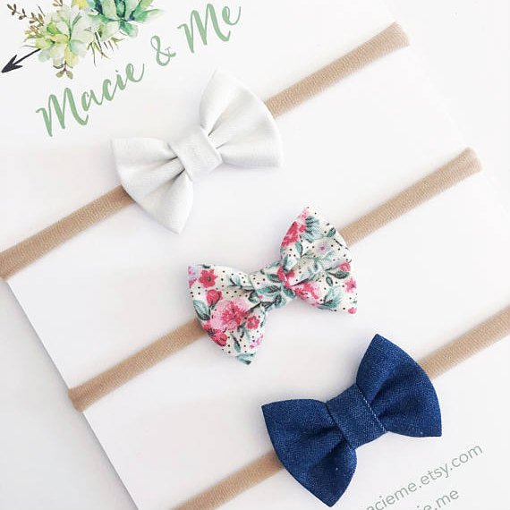 Bow Headbands - Set of 3 Mini Bows