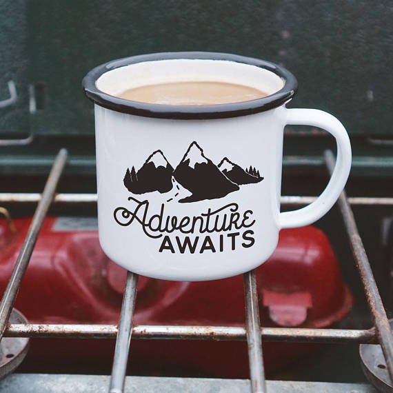 Enamel Camping Mug - Adventure Awaits