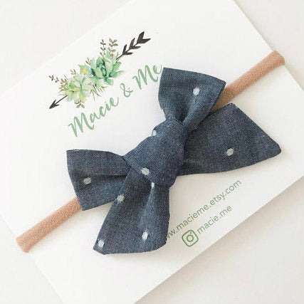 Bow Headband - Chambray Polka Dot