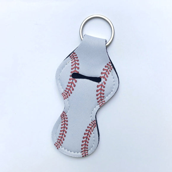 Chapstick Holder Keychain - Baseball