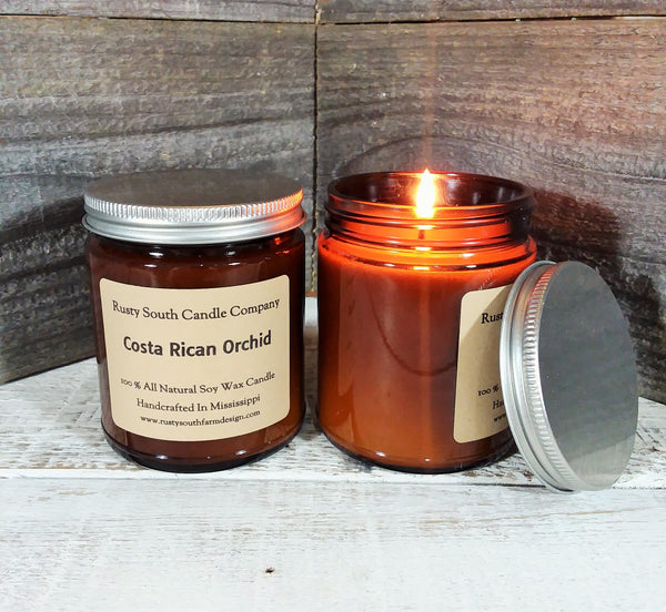 Costa Rican Orchid 8oz. Soy Wax Candle - All Natural Candle -