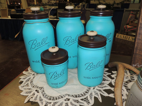 Mason Jar Kitchen Canister Set (Seaside Blue)