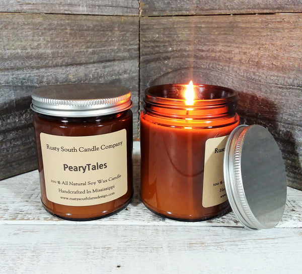 PearyTales 8oz. Soy Wax Candle - All Natural Soy Wax Candle - Apothecary Candle