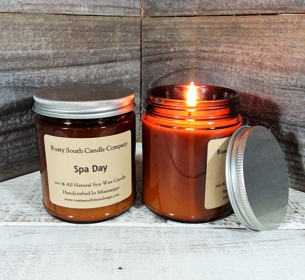 Spa Day 8oz. Soy Wax Candle - All Natural Soy Wax Candle - Apothecary Candle