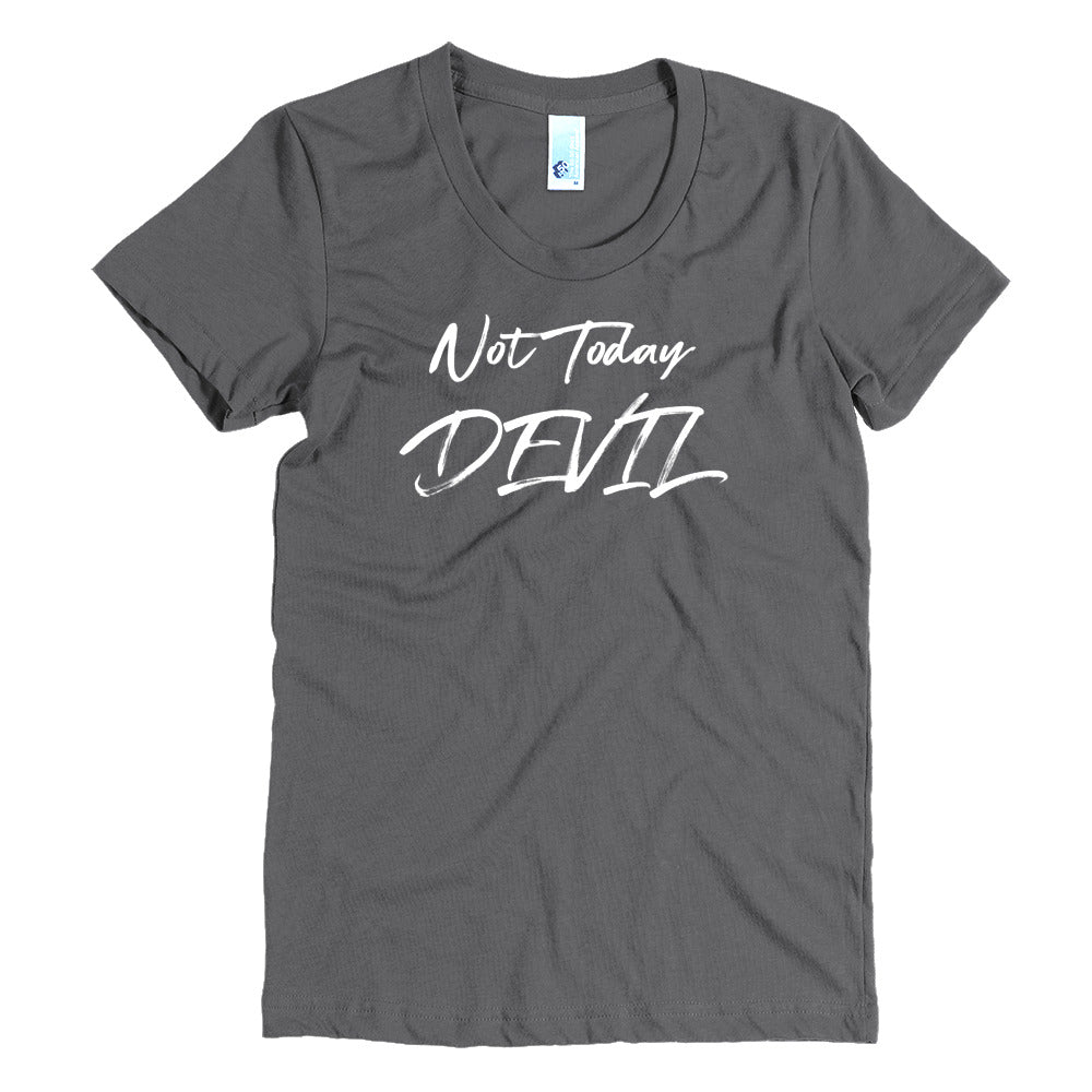 Not Today Devil - White - Women's Crew Neck Tee