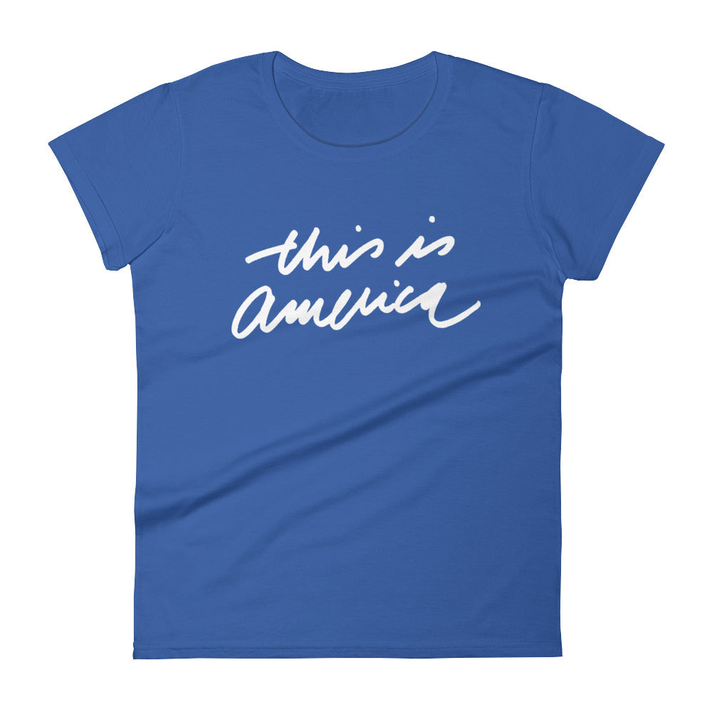 THIS IS AMERICA - White - Women's Short Sleeve T-Shirt