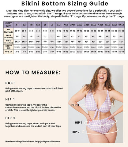 Photo of our sizing guide that ranges from sizes S through 5XL