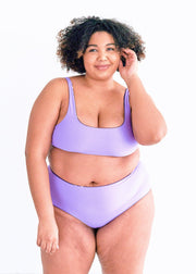 bikini-swimwear-bathing suit-seamless-comfortable-high rise-high waisted-full coverage-soft-reversible-evil eye-eye-print-printed-purple-dark-lilac-lavendar