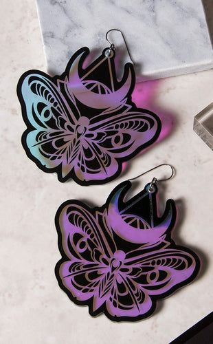 DARK LUNA MOTH Holographic Earring Set