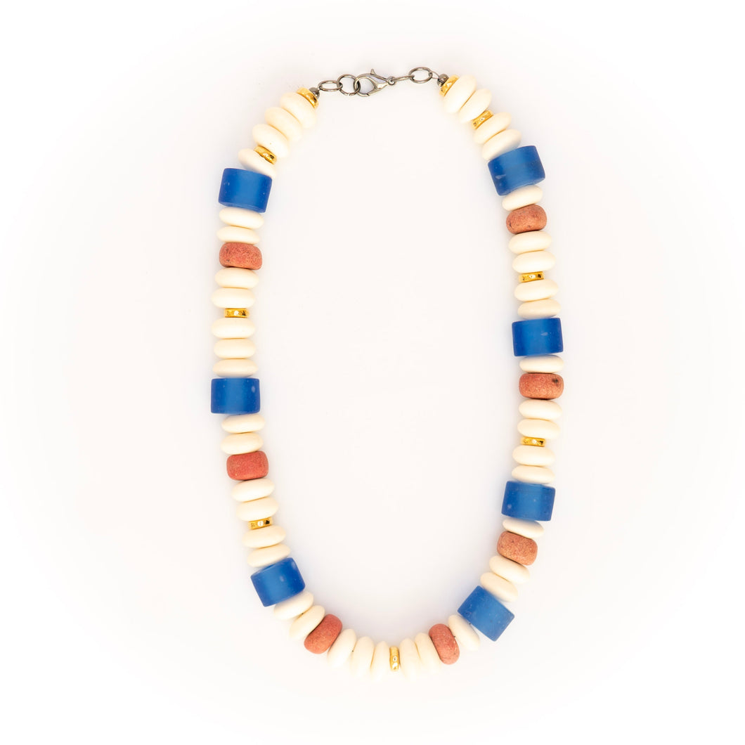 Blue Glass with White Bone Beads