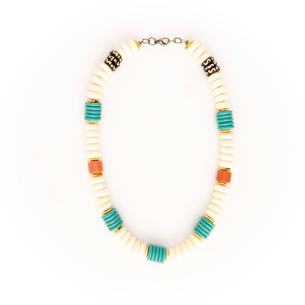 Turquoise with White Bone