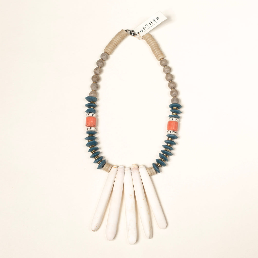 Sea Spine with Navy and Coral