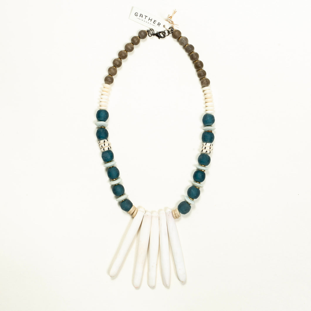 White Sea Spine with Teal Glass