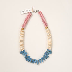 Blue Coral with Pink Glass