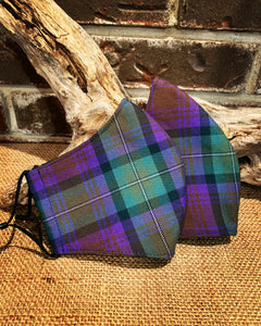 Clan and Specialty Tartan Poly/Viscose Social Distancing Fitted Mask