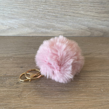 Fluffy Keyring - Soft Pink
