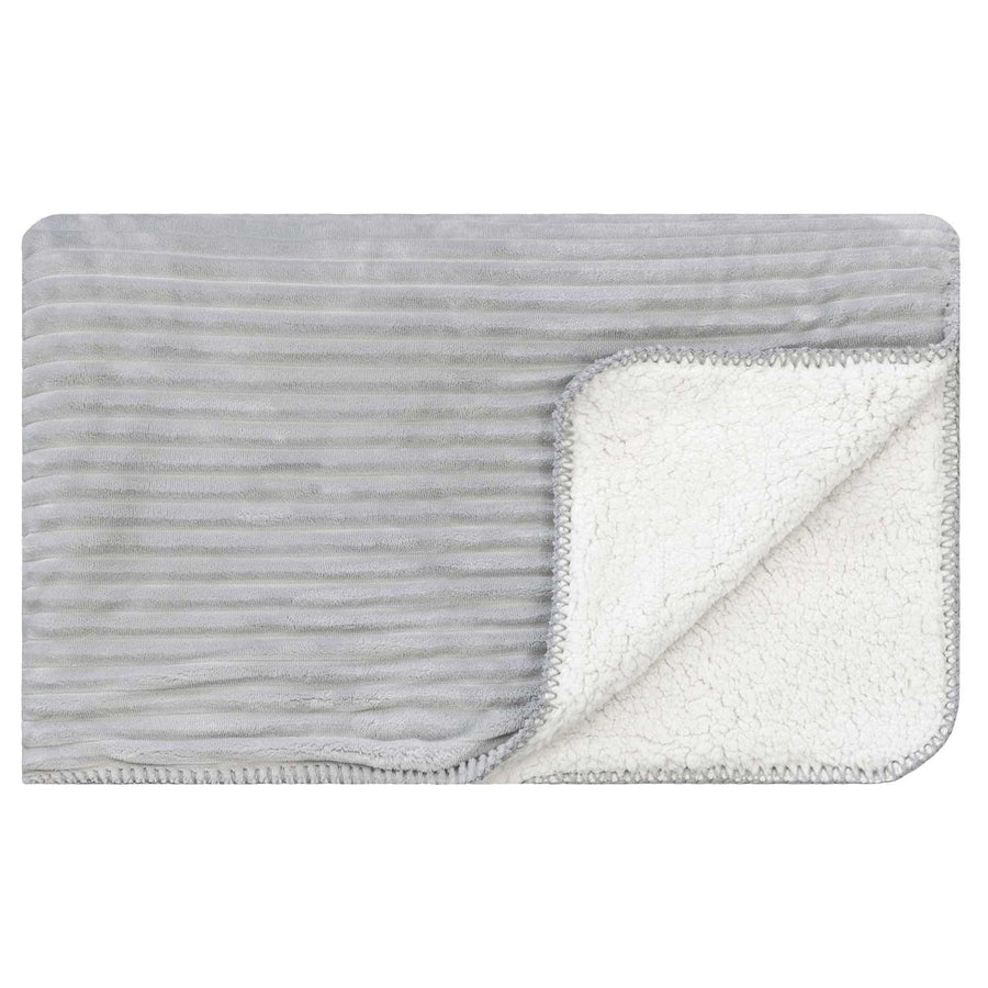 Ribbed Sherpa Blanket - Grey