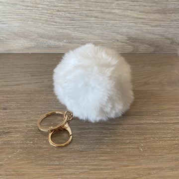 Fluffy Keyring - White