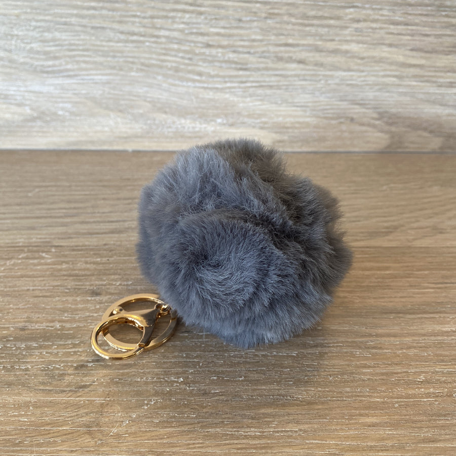 Fluffy Keyring - Grey