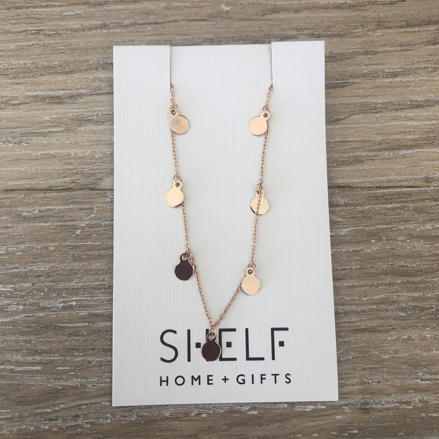 Sterling Silver Necklace - Rose Gold Mini Disks