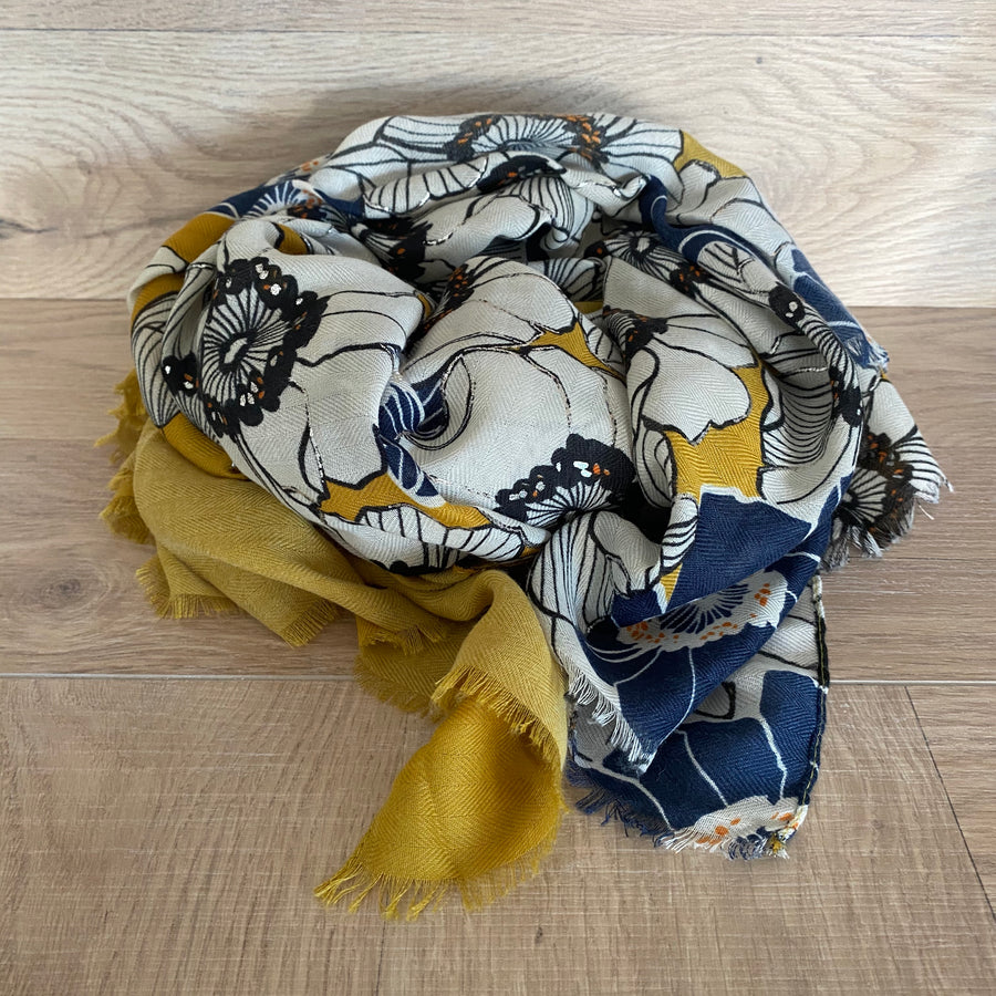 Mustard and Blue floral print scarf