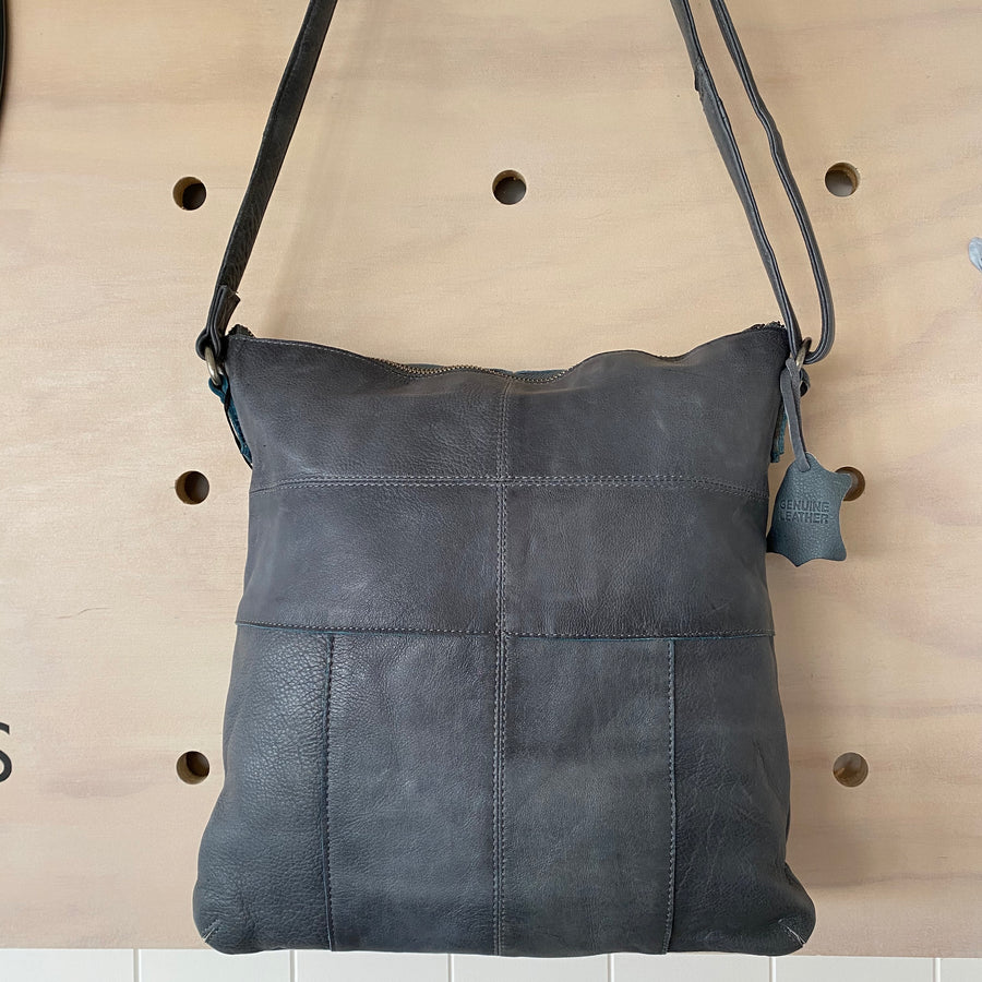 Leather Bag Carolina Steel Grey