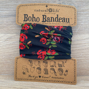 Bandeau - Black with Red Flowers