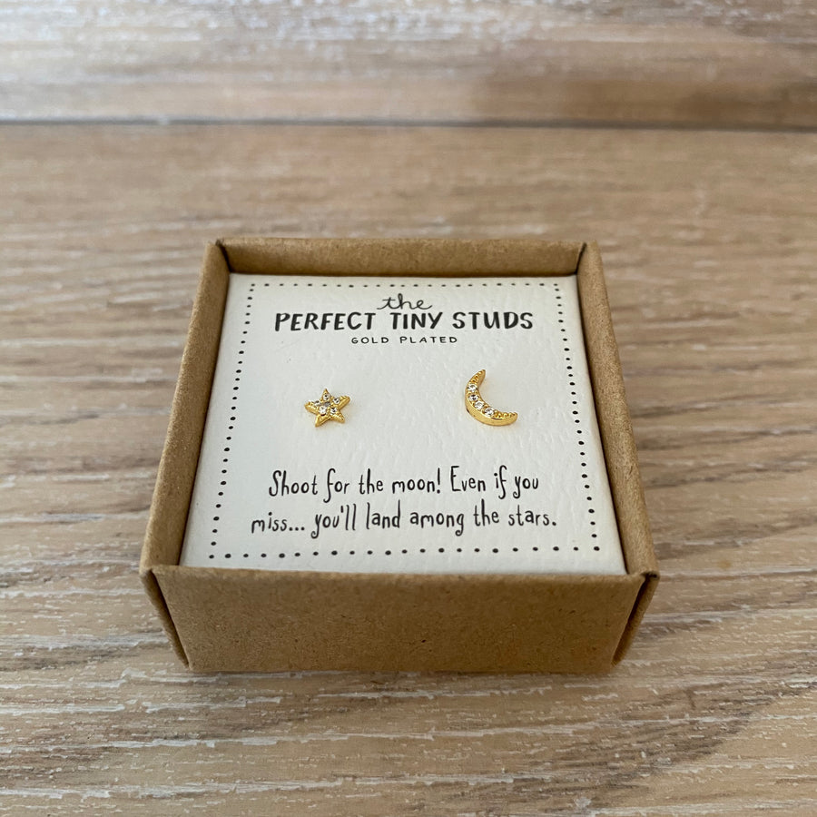 Perfect Tiny Studs - Star and Moon