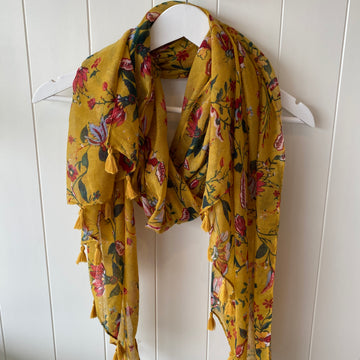 Mustard Floral Print Scarf