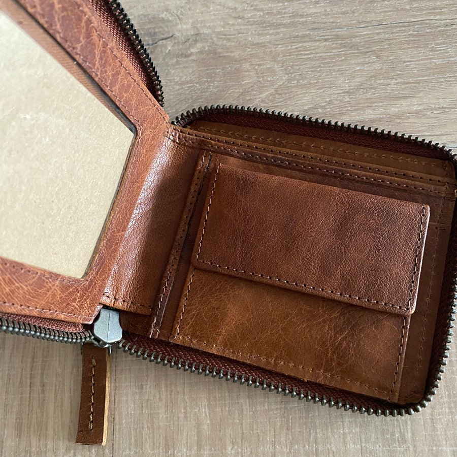 Leather Wallet - Aris Brandy
