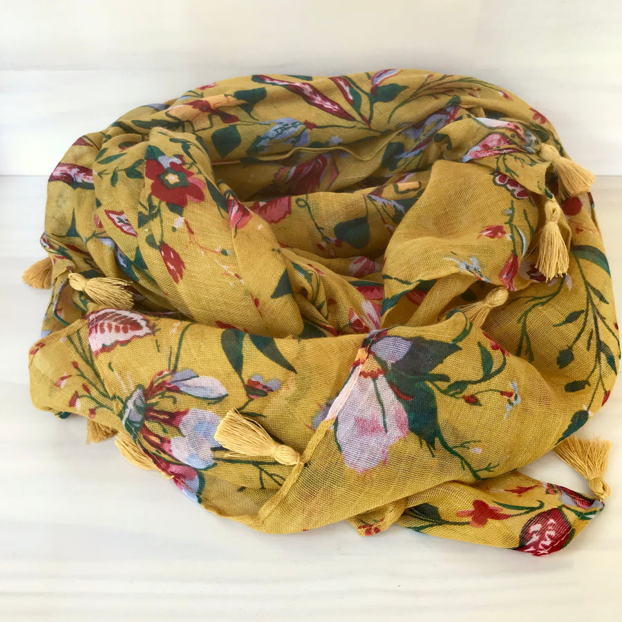 Scarf - Mustard Floral Print