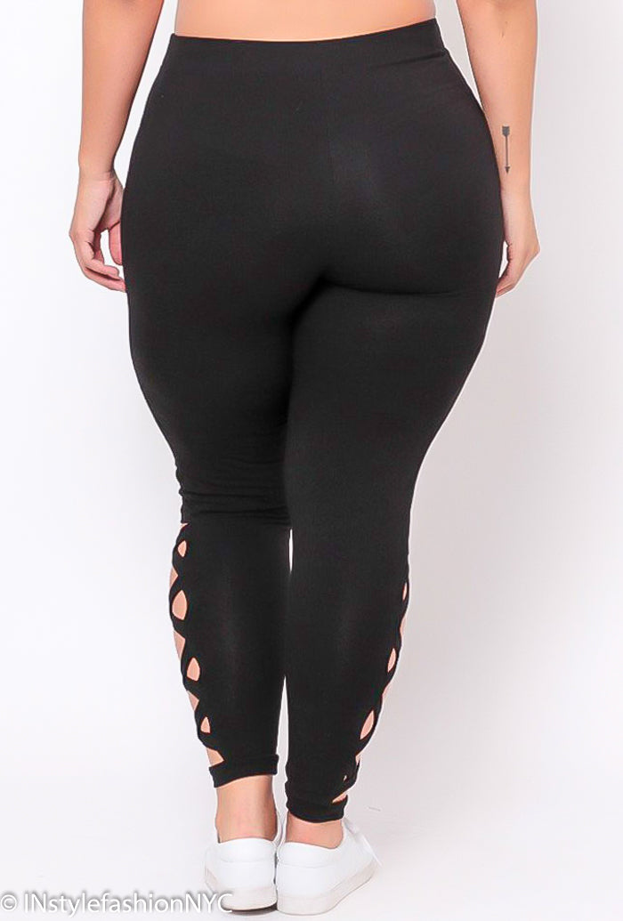 Women's Black Hollow Out Plus Size Leggings, INstyle fashion