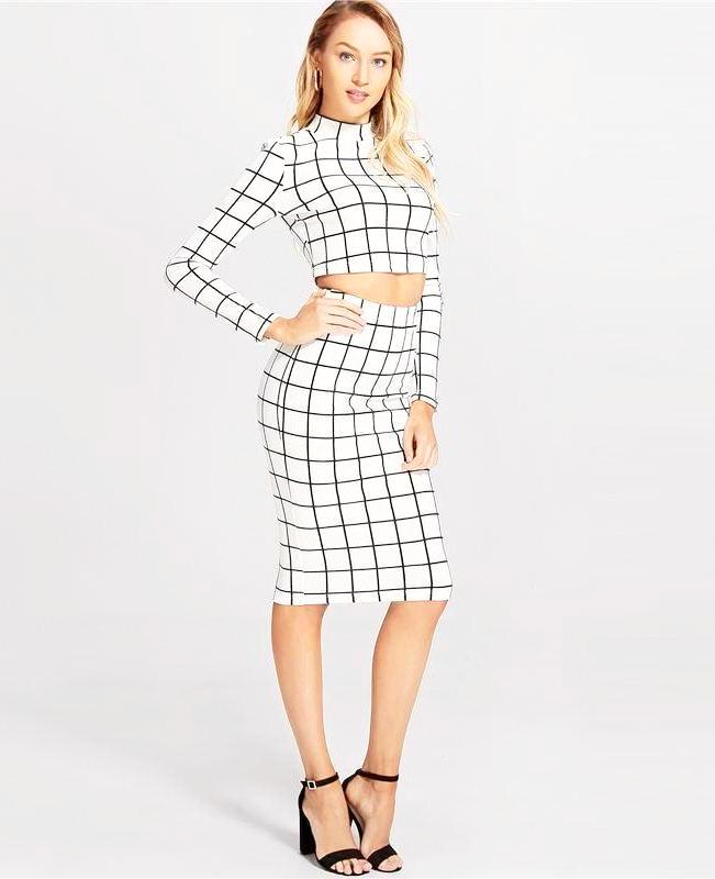 Women's White Window Pane Top & Midi Skirt Set, INstyle fashion