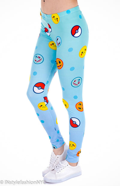 Women's Pokemon Emoji Fashion Leggings, INstyle fashion