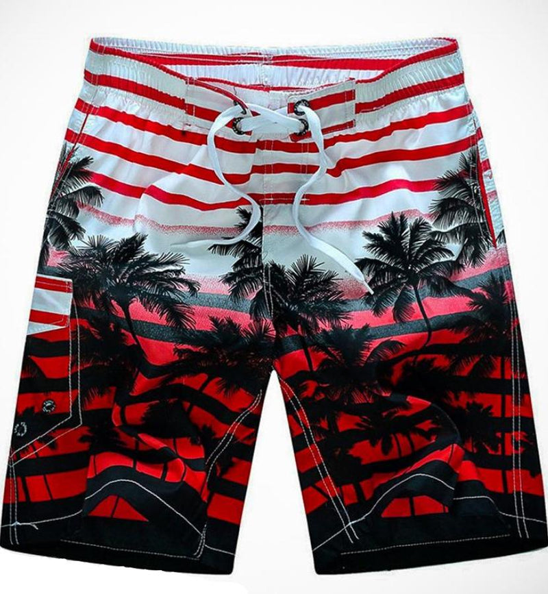 Men's Red And White Tropical Swimwear, INstyle fashion