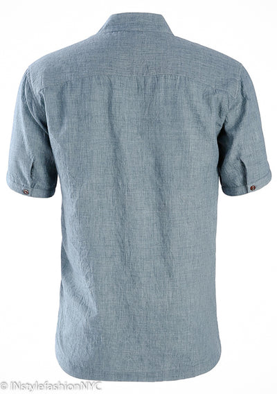 Men's Casual Short Sleeve Blue Linen Shirt, INstyle fashion