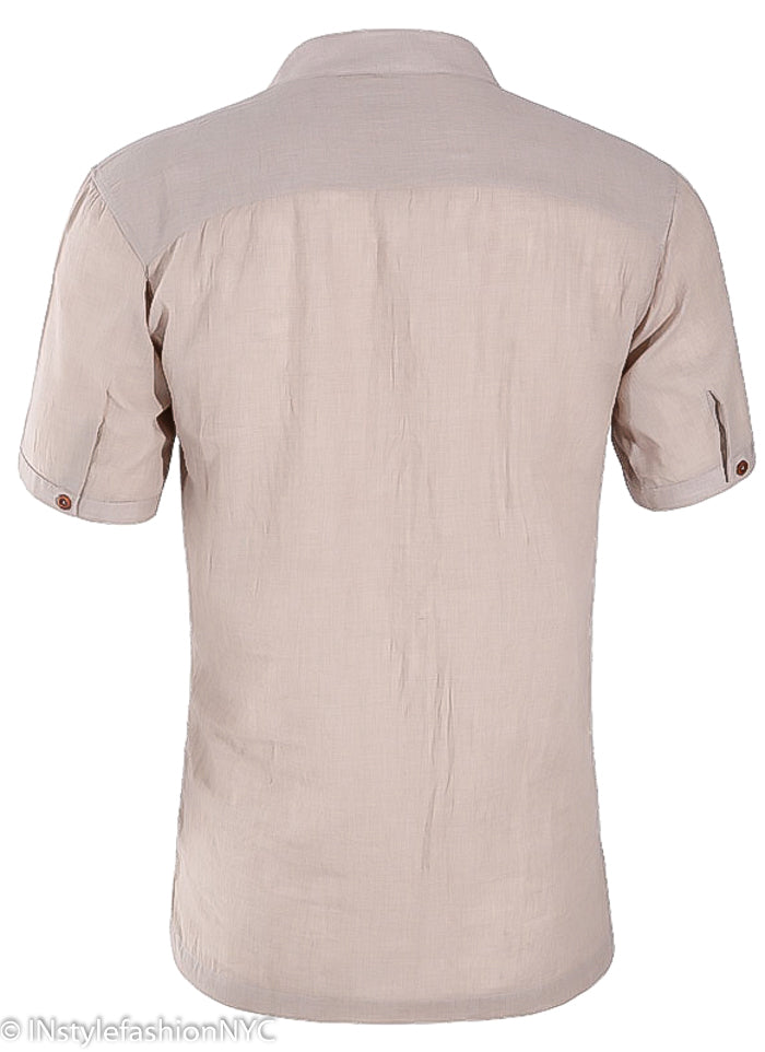 Men's Casual Short Sleeve Lavender Pink Linen Shirt, INstyle fashion