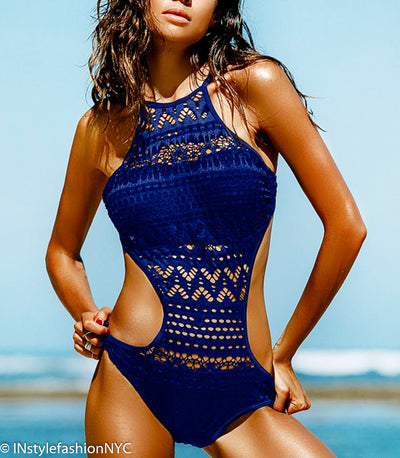 Women's Blue Lace Monokini Swimwear