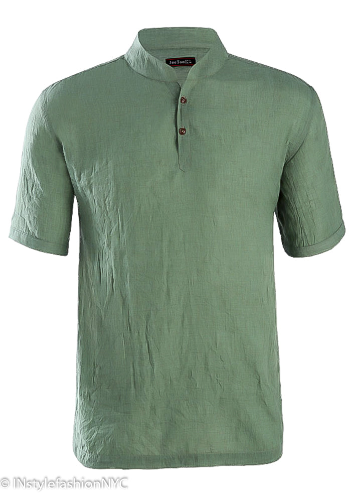 Men's Casual Short Sleeve Green Linen Shirt, INstyle fashion