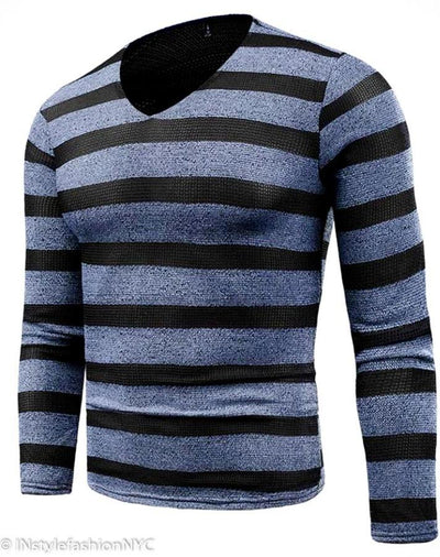 Men's Blue Striped Sweater, INstyle fashion